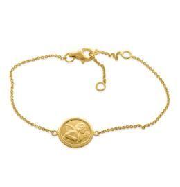 Engel Armband zart filigran Taufschmuck vergoldet