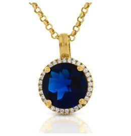 blauer Zirkonia Anhänger mit Halskette 925 Silber hochwertig vergoldet