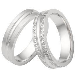 Trauringe 925/- Silber Verlobungsringe mit Zirkonias & poliert