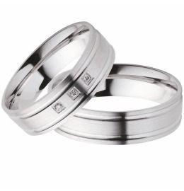 klassische Eheringe Partnerringe aus Silber mit Brillanten