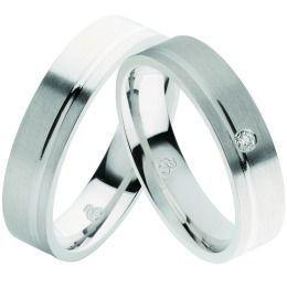 mattiertes 925/- Silber mit Brillant schlichte Eheringe, Partnerringe
