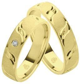 Eheringe, Partnerringe elegant und schön mit Diamant aus Gelbgold