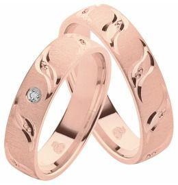 Eheringe, Partnerringe elegant und schön mit Diamant aus Rotgold