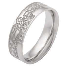 Verlobungsring Damenring breit poliert & Muster & Zirkonia