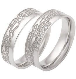 einzigartige 925/- Silber Hochzeitsringe poliert