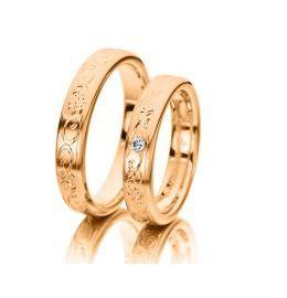 romantische Hochzeitsringe Rotgold schönes Design