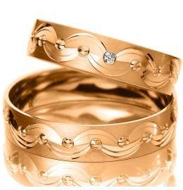 Trauringe Rotgold Verlobung gemustert elegant
