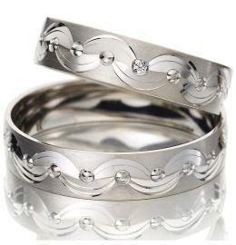 Trauringe Weißgold Verlobung gemustert elegant