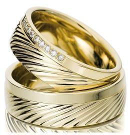 Trauringe Gelbgold Diamanten schlichte Eleganz