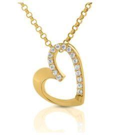 Herz Kette vergoldet Herz Collier gold