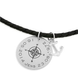 Lederkette mit Kompass & Anker Anhänger, Namenskette