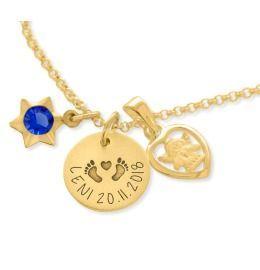 Kette Taufe Gravur vergoldet Schutzengel Herz Anhänger