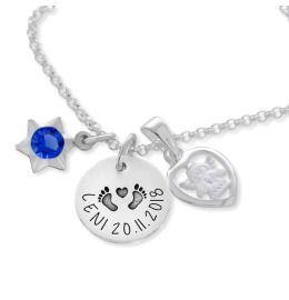 personalisierte Namenskette Gravur Schutzengel Herz Anhänger 925 Silber