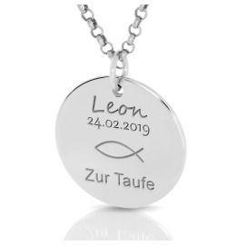 Namenskette 925 Silber Wunschgravur Geschenk zur Taufe