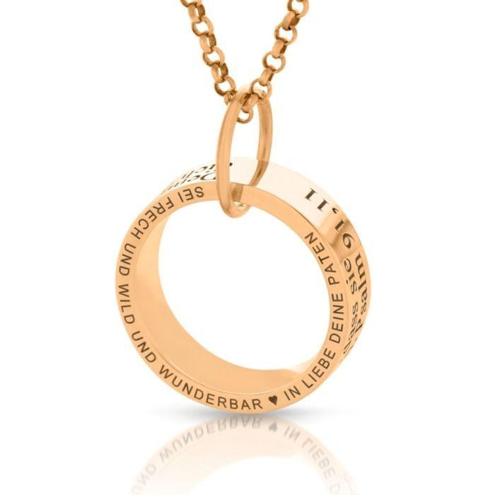 Ring Mit Gravur Spruch Geschenk Taufe Geburt Namenskette Rosé Vergoldet