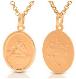 Engel Medaillon Kette rosé vergoldet Schutzengelchen Geschenk Geburt Taufe Kommunion