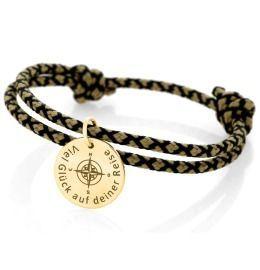 Segelseil 3mm Gravur Damen Herren Armband zweifarbig Kompass