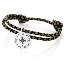 Armband schwarz ocker Segelseil 3mm Gravur Kompass