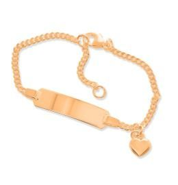 ID-Armband mit Gravur; Armkettchen rosé vergoldet, Namensschmuck