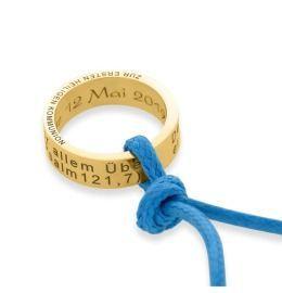 Kette Ring Anhänger vergoldet, Gravur Namenskette gold