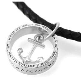 Kette mit RIng Gravur Namenskette Anhänger Ring Anker