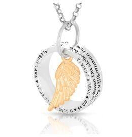 Kette Silberring Geburtsdaten Namenskette Flügel rosé vergoldet