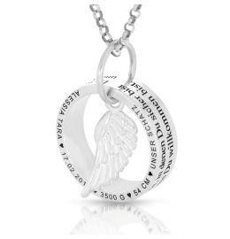 Kette Ring Flügel Anhänger Gravur Namenskette 925 Silber