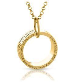 Kette Ring Anhänger vergoldet Gravur Name Datum Spruch
