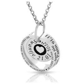 Namenskette mit Gravur Taufring Geschenk zur Geburt 925 Silber