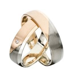 Trauringe bicolor Palladium Rosègold Diamant edle Eheringe Partnerringe