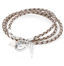 Namensarmband mit Gravur, Lederarmband mit Perle & Flügel, 925 Silber