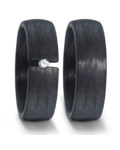 Trauringe Carbon mit Diamanten schwarz 7mm