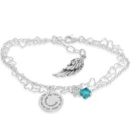 Gravur Armkettchen 925 Sterling Silber Flügel Kristallanhänger
