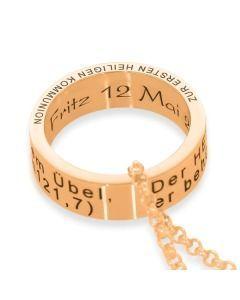 Ring Gravur rosé vergoldet Anhänger Taufring Geschenk Kommunion