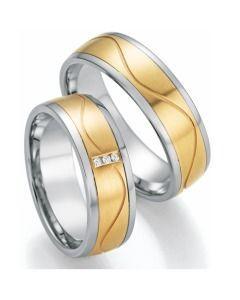 Trauringe bicolor Gelbgold mit Weißgold Diamanten Partnerringe