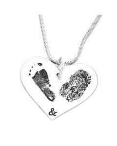 Herzkette mit Fuß-& Fingerabdruck, Namenskette
