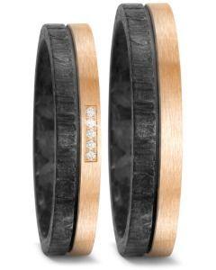 Elegante Partnerringe Eheringe Carbon Bronze und Brillanten
