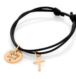 Armband Gravur Namenskettchen rosé vergoldet Kreuz Anhänger