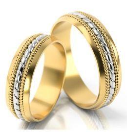 romantisch geflochtene Gelb-& Weißgold Eheringe
