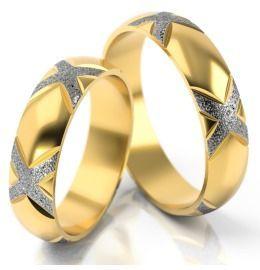 extravagante Gold Trauringe aus Gelb-& Weißgold & edlem Muster