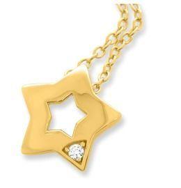 Damenkette mit Stern Anhänger vergoldet, Zirkonia