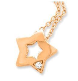 Halskette mit Anhänger Stern Zirkonia rosé vergoldet