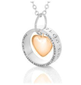 Bicolor Kette, Ring mit Herz & Gravur