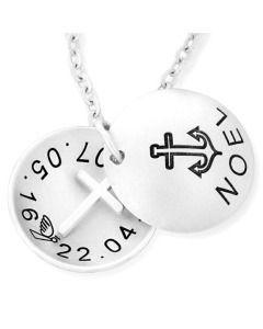 Namenskette mit Kreuz, Medaillon mit Gravur