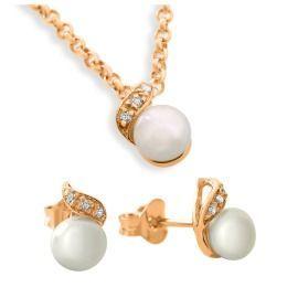 Hochzeitschmuck mit Perlen, Schmuckset Kette & Ohrstecker