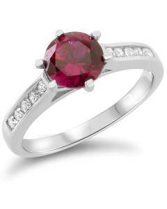 Damenring Silber rot