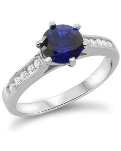 Damenring Silber blau Verlobungsring