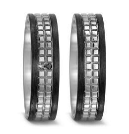 Trauringe bicolor Carbon Titan schwarze Diamanten