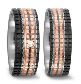 ausgefallene Trauringe Carbon Titan 750/18K Rotgold Diamant