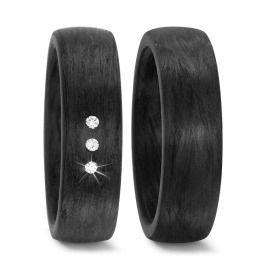schlicht elegant schwarz Carbon Eheringe Diamanten
